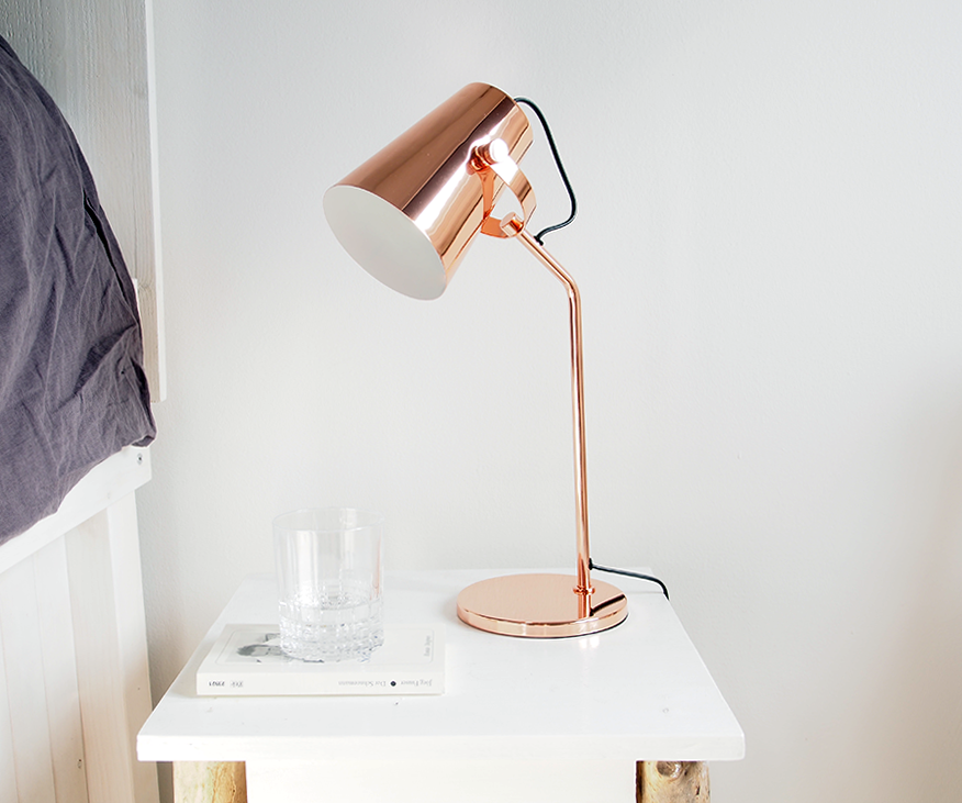 Lampe rose gold for Lampe de bureau rose